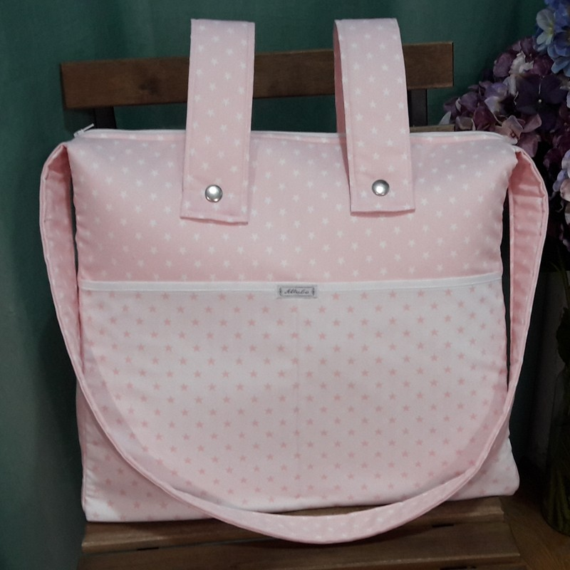 Bolso panera con cremallera + asa larga bicolor rosa