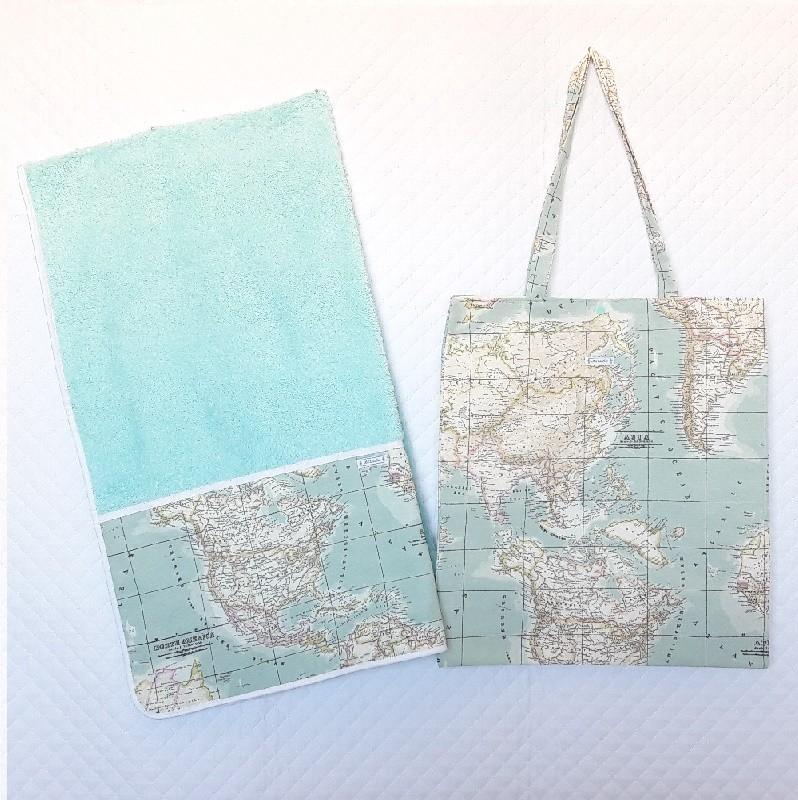 Toalla y bolsa playa mapamundi