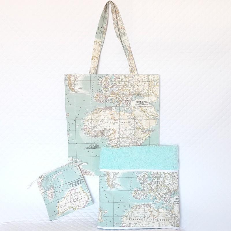 Toalla, bolsa y taleguilla playa mapamundi