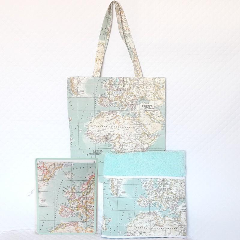 Toalla, bolsa y bolsa seco-mojado playa mapamundi